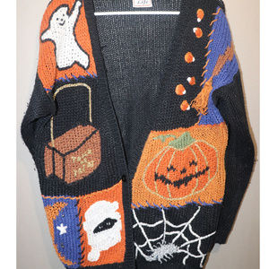 Halloween Ghost Spider Knit Crochet Ugly Sweater L